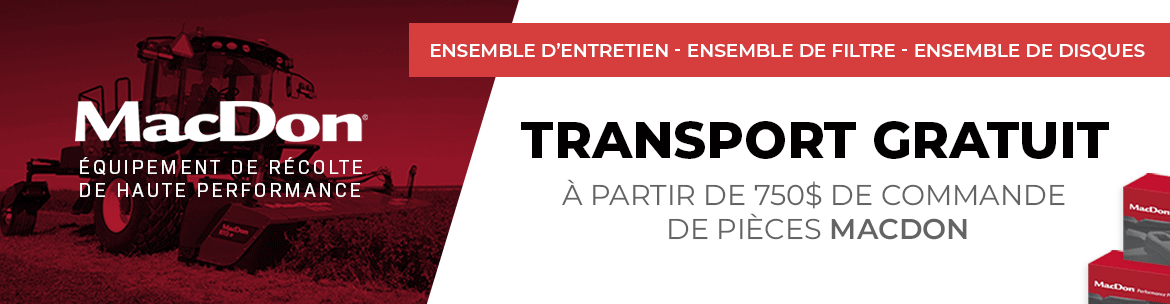 promotion transport gratuit pieces macdon 2019